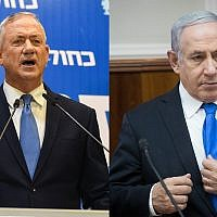 Blue and White head Benny Gantz, left, and Prime Minister Benjamin Netanyahu, right. (Flash90)