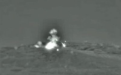 An IDF airstrike hits Syrian military targets, June 1, 2019. (Israel Defense Forces)
