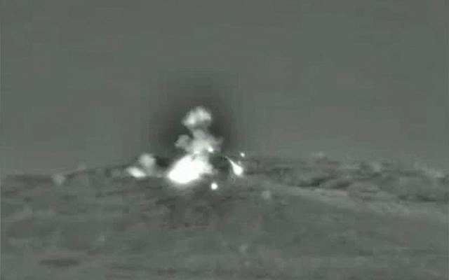 An IDF airstrike hits Syrian military targets, June 1, 2019. (IDF spokesperson's unit)