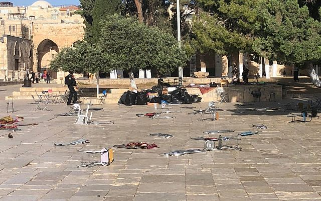 Chairs and other objects hurled at police forces by Palestinian rioters at Jerusalem's Temple Mount compound on June 2, 2019. (Israel Police)