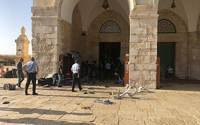 Israel Police forces at Jerusalem's Temple Mount compound on June 2, 2019. (Israel Police)