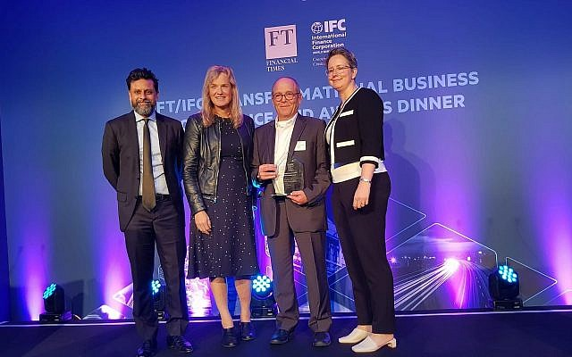 Israeli startups N-Drip gets Overall Award Excellence in Disruptive Solution at 2019 Transformational Business Awards of the International Finance Corporation (IFC) and The Financial Times (FT); left to right: Ravi Mattu (FT), Vivienne Ming, (Socos Labs), Prof. Uri Shani, Chairman & CTO, N-Drip, Kelly Widelska (IFC); London, June 13, 2019  ( FT/IFC)