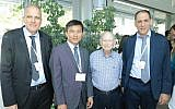 Prof Uri Banin, chair, former founding director of Hebrew University Center for Nanoscience and Nanotechnology (HUCNN), left to right, Yi Cui, Prize Laureate, Dan Maydan, and Uriel Levy, director of the HUCNN; June 17, 2019 (Courtesy)