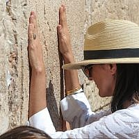 Former US ambassador to UN Nikki Haley prays at the Western Wall in Jerusalem's Old City on June 26, 2019. (Oren Ben Hakon/Israel Hayom)