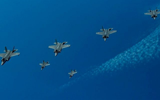 F-35 fighter jets from Israel, the United States, and the United Kingdom take part in an aerial exercise over the Mediterranean Sea, on June 25, 2019. (Israel Defense Forces)