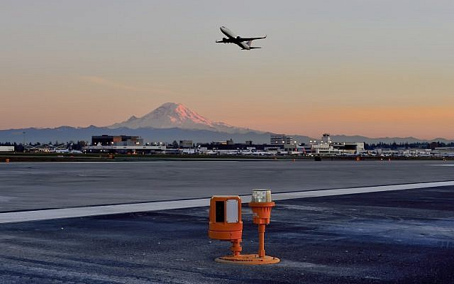 The runway safety solution developed by Xsight Systems is deployed on a runway in the Seattle Tacoma International Airport (Courtesy)