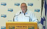 Arnon Bar-David speaks to members of the Histadrut labor organization, March 29, 2019 (Screen grab via Facebook)