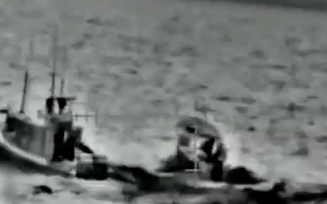 An Israeli operation to intercept Gazan boats, on May 11, 2019, in a video released by the IDF on June 7, 2019. (screen capture: IDF)