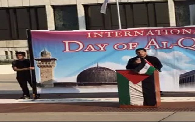 A speaker at an al-Quds Day rally in Dearborn, Michigan (screenshot)