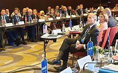 Elan Carr, the US envoy against anti-Semitism, and his EU counterpart Katharinas von Schnurbein at a summit meeting in Bucharest, Romania, on June 17, 2019. (Cnaan Liphshiz via JTA)