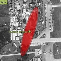 The source of a signal interfering with GPS reception for planes flying over Israel, located on Russia's Khmeimim Air Base in western Syria, from a presentation by aerospace engineer Todd Humphreys to the US government in June 2019. (Courtesy)