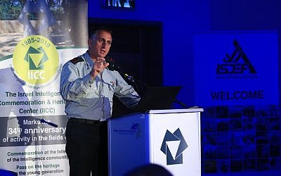 Maj. Gen. Tamir Hayman, head of IDF Military Intelligence, speaks at a conference in Tel Aviv on June 5, 2019. (Yissachar Ruas)