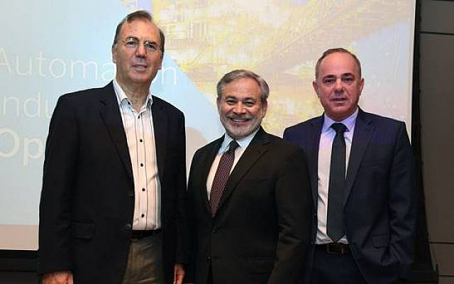 Ami Appelbaum, Chairman of the Israel Innovation Authority and Chief Scientist, Ministry of Economy and Industry, left to right, Dan Brouillette, Deputy Secretary, US Department of Energy; Yuval Steinitz, Minister of Energy, Israel in Tel Aviv, June 24, 2019 (David Azagury, US Embassy, Israel)