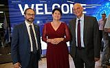 Left to right: EU Ambassador to Israel Emanuele Giaufret, Nili Shalev, ISERD Director General and Aharon Aharon, CEO, Israel Innovation Authority at the Horizon 2020 awards ceremony in Jaffa on June 4, 2019 (Yossi Zamir; GPO)