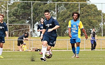 Jewish pro soccer player David Schipper playing for New Zealand's Southland United football club. (Courtesy/Monica Toretto)