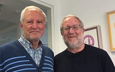 (Above and at top of article) Prof. Mohammed Dajani (left) and Yossi Klein Halevi at The Times of Israel's office in Jerusalem, May 2019 (ToI staff)