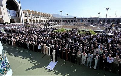 Iranian supreme leader Ali Khamenei leads prayers for Eid al-Fitr in Tehran, June 5, 2019. (Khamenei's official website)