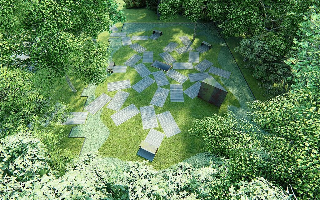Plan rendering for memorial park at the site of the former Great Synagogue of Oswiecim, Poland, set to open on November 28, 2019 (courtesy: Auschwitz Jewish Center)