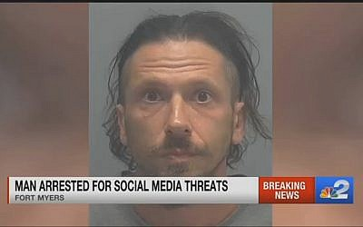 Joshua John Leff, 40, arrested in Fort Myers, Florida, and charged with intimidation, sending written threats to kill minorities including Jews. (YouTube screen capture)