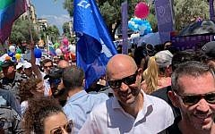 Justice Minister Amir Ohana at the Tel Aviv Pride Parade, June 14, 2019. (Courtesy Justice Ministry)