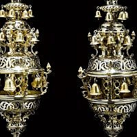 A pair of English parcel-gilt silver Torah finials, from 1764, by British silversmith Edward Aldridge, was acquired by the Museum of Fine Arts in Boston at a Sotheby's Judaica auction in New York. (Courtesy Museum of Fine Arts/via JTA)