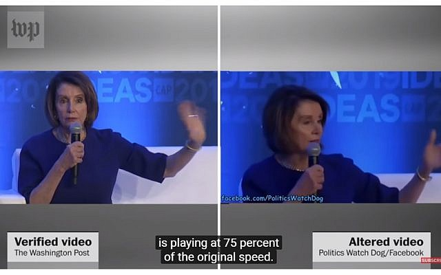 Washington Post comparison of altered video of US Speaker of the House of Representatives Nancy Pelosi versus the original version. (YouTube screen capture)