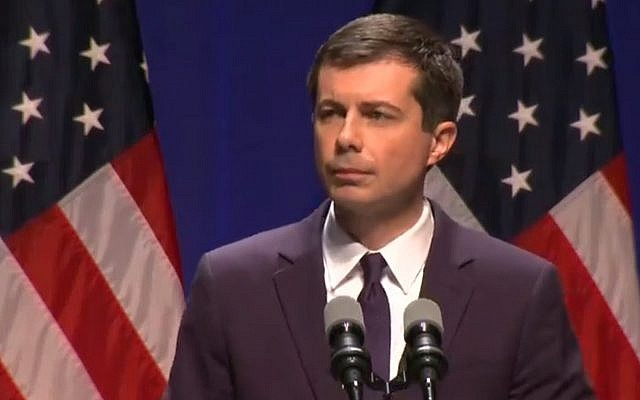Presidential candidate Pete Buttigieg delivers an address in Bloomington, Indiana, on June 11 2019. (screen capture: C-Span)