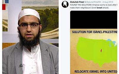 Screenshots of British Imam Abdullah Patel being interviewed on BBC on June 19, 2019 (L) and his post calling for the relocation of Israel to the United States. (via UK Jewish News)