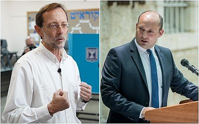(L) Zehut party leader Moshe Feiglin, casts his ballot at a voting station in the Karnei Shomron settlement during the Knesset elections on April 9, 2019. (Hillel Maeir/Flash90). (R) then-education minister Naftali Bennett speaks during an exchange ceremony of ministers ceremony at the Education Ministry on June 26, 2019. (Yonatan Sindel/Flash90)