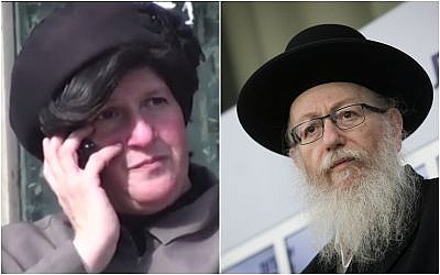 (R) Deputy health minister Yaakov Litzman seen during a press conference after meeting with president Reuven Rivlin at the President's Residence in Jerusalem on April 15, 2019. (Yonatan Sindel/Flash90); (L) A private investigator tagged Malka Leifer as she spoke on the phone, while sitting on a bench in Bnei Brak, on December 14, 2017. (Screen capture/YouTube)