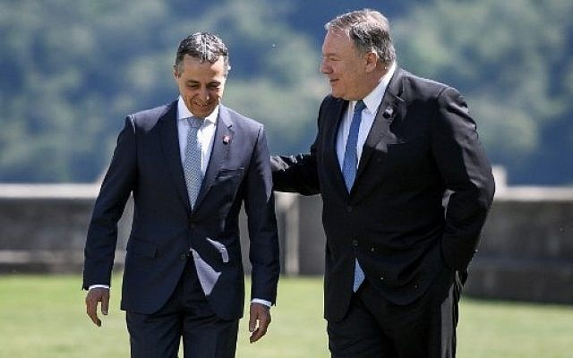 US Secretary of State Mike Pompeo (R) speaks with Swiss counterpart Ignazio Cassis at the Castelgrande during a bilateral meeting on June 2, 2019 in Bellinzona, southern Switzerland. (Photo by Fabrice COFFRINI / AFP)