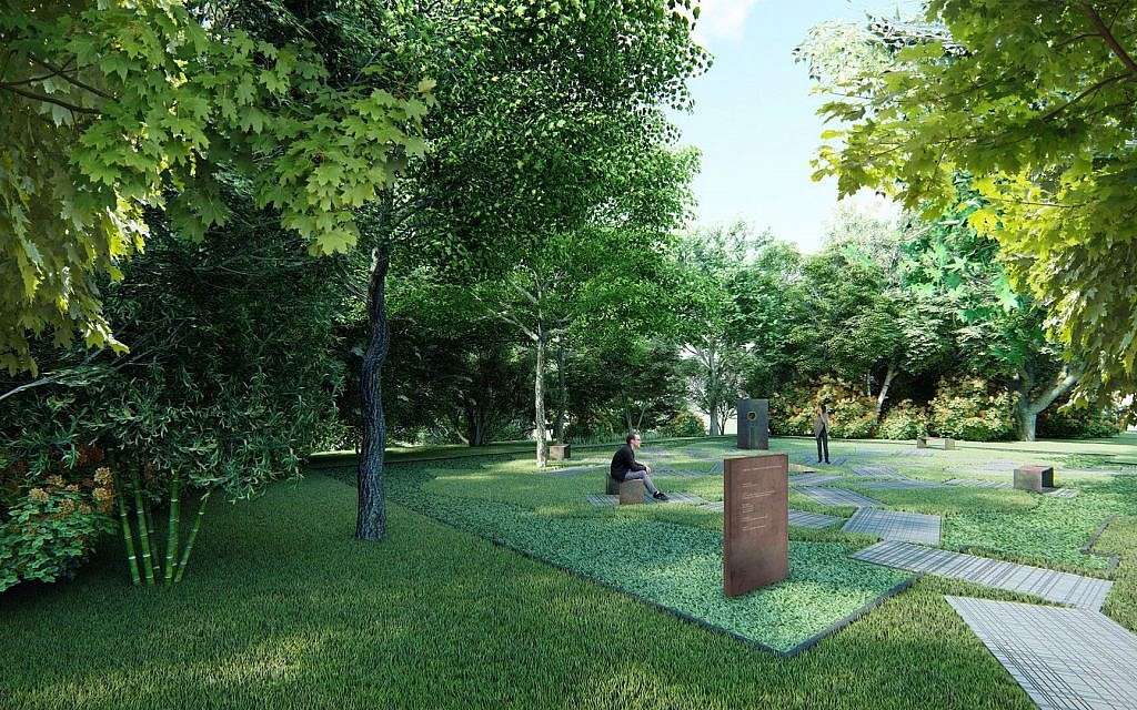 Rendering of coming memorial park at site of the Great Synagogue in Oswiecim, Poland (courtesy: Auschwitz Jewish Center)