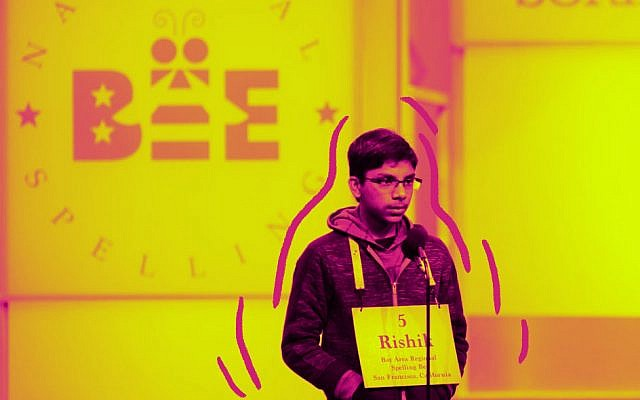 """Rishik Gandshari spelled """"Yiddishkeit"""" and """"keriah"""" on the way to the co-championship of the Scripps National Spelling Bee, June 2019. (Scripps National Spelling Bee Facebook)"""