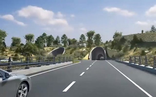 A visualization of a tunnel on Road 16, which will provide a new entryway into Jerusalem (Channel 12 screenshot)