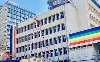"""Photo on the US Embassy Jerusalem's twitter page on June 13, 2019, captioned: """"The U.S. Embassy Branch Office in Tel Aviv is ready for the PRIDE parade tomorrow!"""" (Twitter)"""