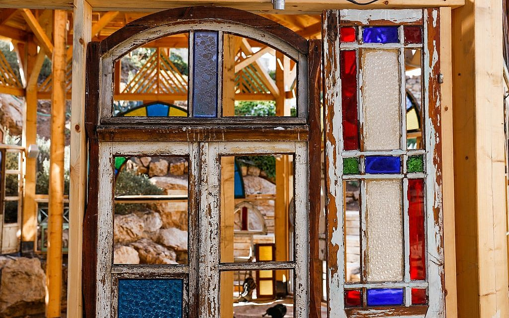 The stained glass windows and window frames that makes up Window Frames, a Mekudeshet Festival 2019 installation (Courtesy Eric Potterman)