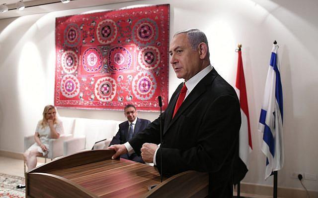 Prime Minister Benjamin Netanyahu speaks at the residence of the Egyptian ambassador in Tel Aviv on July 7, 2019 (Kobi Gideon/GPO)