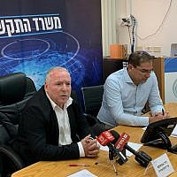 Communications Minister David Amsalem, left, and Netanel Cohen, director general of the ministry, at the launch of the 5G wireless network tender in Jerusalem, July 14 (Courtesy)