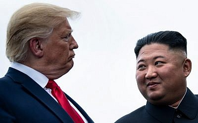 US President Donald Trump and North Korea's leader Kim Jong-un talk before a meeting in the Demilitarized Zone(DMZ) on June 30, 2019, in Panmunjom, Korea. (Brendan Smialowski / AFP)