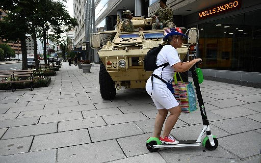 An Armored Personnel Carrier (APC) is parked on a sidewalk in Washington, DC, on July 4, 2019.  (Brendan Smialowski / AFP)