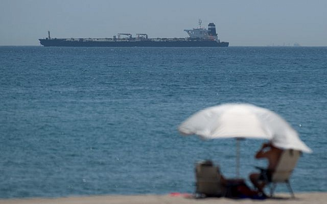 A picture shows supertanker Grace 1, suspected of carrying Iranian crude oil to Syria in violation of EU sanctions, after it was detained off the coast of Gibraltar on July 4, 2019. (Jorge Guerrero/AFP)