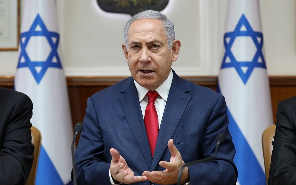 Prime Minister Benjamin Netanyahu chairs the weekly cabinet meeting at his office in Jerusalem on July 7, 2019. (Abir Sultan/Pool/AFP)