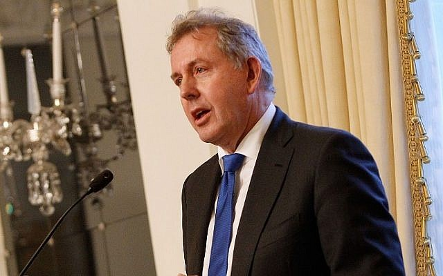 In this file photo taken on January 18, 2017 British Ambassador Kim Darroch speaks at an Afternoon Tea hosted by the British Embassy to mark the US Presidential Inauguration at The British Embassy in Washington, DC (Paul Morigi / GETTY IMAGES NORTH AMERICA / AFP)