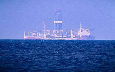 The drilling vessel Fatih, which was deployed by Turkey to search for gas and oil in waters considered part of the Cyprus's exclusive economic zone, seen on June 24, 2019. (AFP)