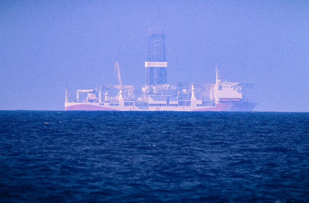 The drilling vessel Fatih which was deployed by Turkey to search for gas and oil in waters considered part of the Cyprus's exclusive economic zone seen