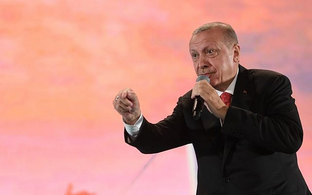 Turkish President Recep Tayyip Erdogan speaks during a rally to commemorate an attempted coup, at the Ataturk International Airport in Istanbul on July 15, 2019. (Ozan Kose/AFP)