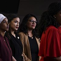 US Representatives Ayanna Pressley (D-MA) speaks as, Ilhan Abdullahi Omar (D-MN)(L), Rashida Tlaib (D-MI) (2R), and Alexandria Ocasio-Cortez (D-NY) hold a press conference, to address remarks made by US President Donald Trump earlier in the day, at the US Capitol in Washington, DC on July 15, 2019. (Brendan Smialowski / AFP)