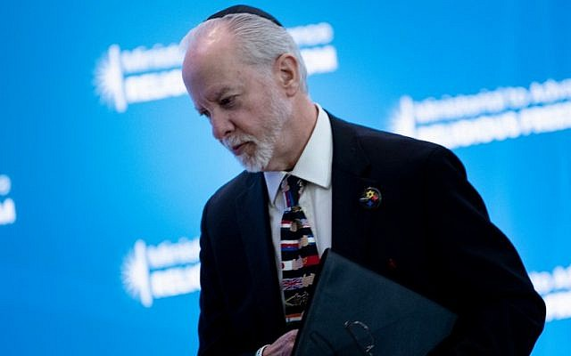 Rabbi Jeffrey Myers, survivor of the Tree of Life mass shooting, speaks during a religious freedom summit at the US Department of State July 16, 2019, in Washington, DC (Brendan Smialowski / AFP)