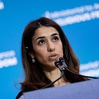 Nadia Murad, an Iraq Yazidi once held captive by the Islamic State, speaks during a religious freedom summit at the US Department of State on July 16, 2019, in Washington, DC. (Photo by Brendan Smialowski / AFP)
