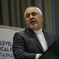 Iranian Foreign Minister Mohammad Javad Zarif speaks at a high level political forum on sustainable development on July 17, 2019 at UN Headquarters in New York. (Kena Betancur/AFP)